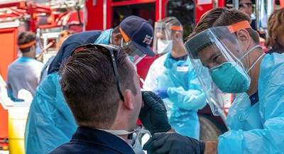 As part of the SEARCH study, San Diego fire fighters are screened for SARS-CoV-2, the virus that causes COVID-19. Learn more at searchcovid.info.