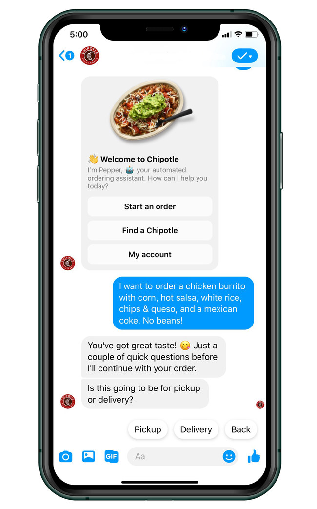 "Beginning June 22, guests can order on Facebook Messenger by visiting Facebook.com/chipotle or the Chipotle page on the Facebook app and selecting the ""Message Us"" option."