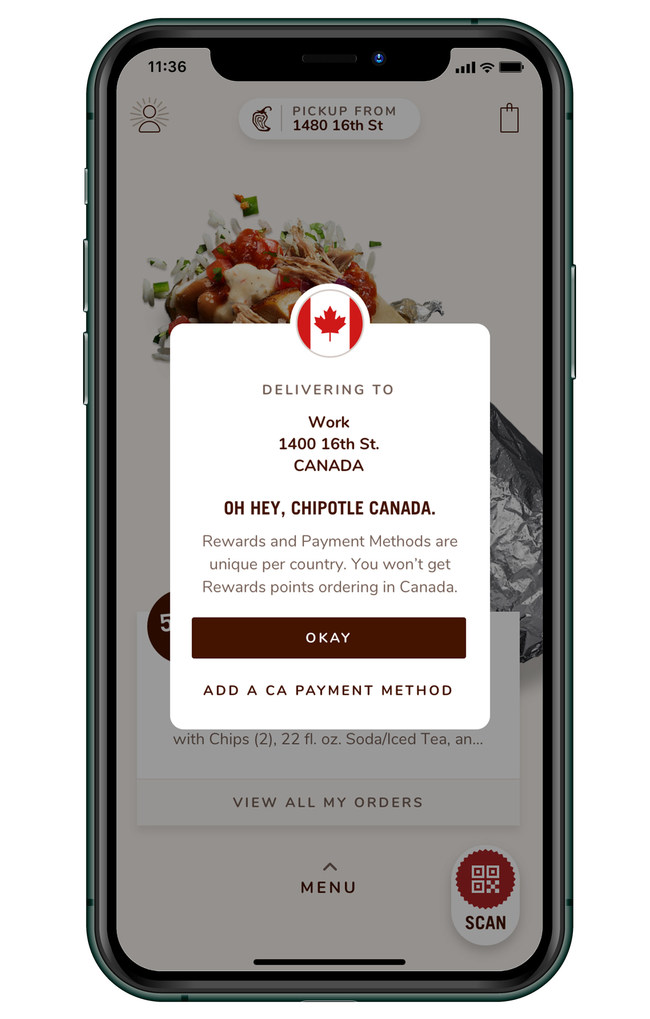 Guests in Canada can now order their favorite Chipotle meals via Chipotle.ca or the Chipotle app.
