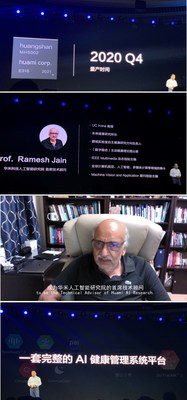 El Sr. Wang Huang anunció el lanzamiento del dispositivo portátil con chip Huangshan-2 y la designación del Prof. Ramesh Jain como asesor técnico en jefe del Huami AI Research Institute (PRNewsfoto/Huami)