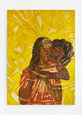 Sola Olulode. Eternal Light. Ink, acrylic and wax on canvas. 210 x 150cm. 2020. £6900