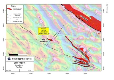 Figure 1: Location of the Arrow zone and current regional drill holes. (CNW Group/Great Bear Resources Ltd.)