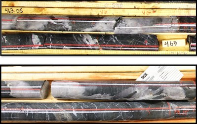 Figure 3: Comparison of Arrow zone drill core (top) and Hinge zone drill core (bottom).  Both zones display identical hydrothermal biotite alteration, trace accessory sulphides and visible gold.  Both zones are developed at the same type of geological contact. (CNW Group/Great Bear Resources Ltd.)