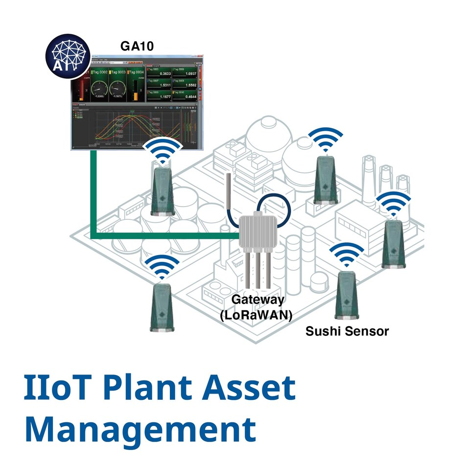 Unique IIoT plant asset management solution for online vibration and temperature monitoring with long range wireless networking and advanced analytics for early anomaly detection in hazardous areas
