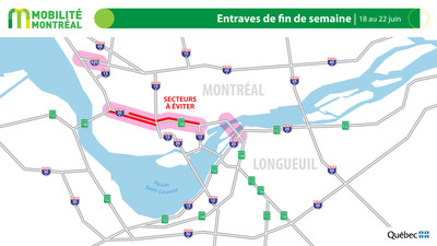 Carte générale des entraves, période du 18 au 22 juin (Groupe CNW/Ministère des Transports)