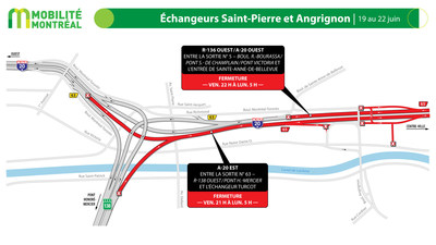 A20 entre échangeurs Saint-Pierre et Turcot, fin de semaine du 19 juin (Groupe CNW/Ministère des Transports)
