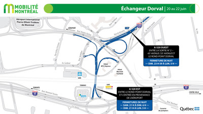 Échangeur Dorval A520, fin de semaine du 19 juin (Groupe CNW/Ministère des Transports)