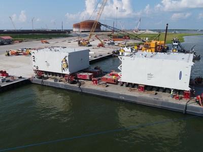 Llegada de las cajas frías, el 18 de junio. (PRNewsfoto/Venture Global LNG)