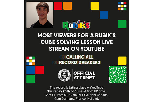 All are welcome to join the live stream for the 'most viewers for a Rubik's Cube solving lesson Live Stream on YouTube' on Thursday June 25.
