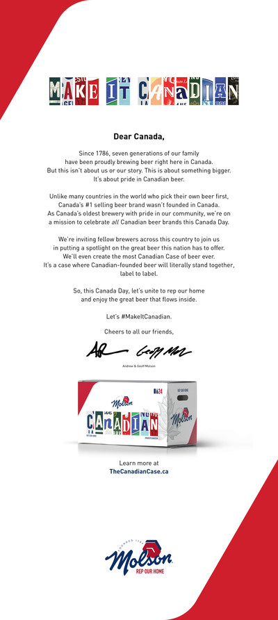#MakeitCanadian Open Letter (CNW Group/Molson Canadian)