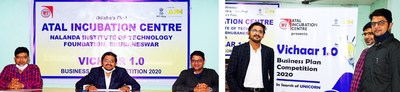 Left: AIC-Nalanda aims to be the first entrepreneurial hub of its kind in Odisha to nurture and support young potential talents of the state. Right: Vichaar 1.0 Business Plan Competition 2020 encourages students, innovators, entrepreneurs and startups across India to transform their unique and innovative ideas into effective business plans