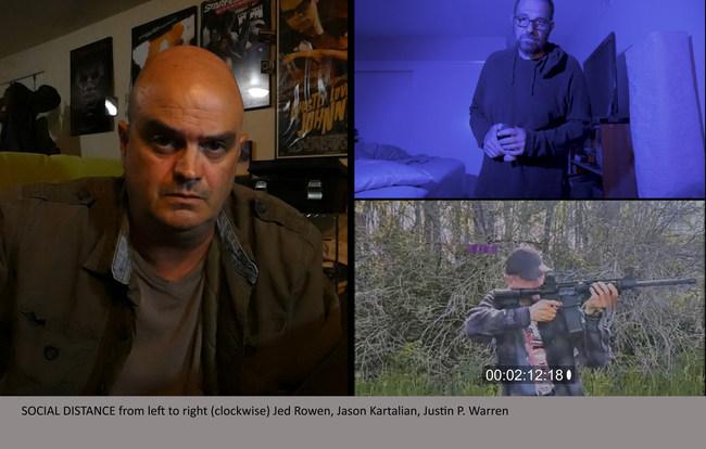 Stork Winters (Jed Rowen) seeks answers from Ken Fogler (Jason Kartalian) and Henry Crandall (Justin P. Warren) in Social Distance.