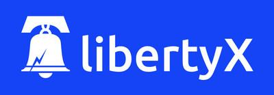 LibertyX Logo (White on Blue) (PRNewsfoto/LibertyX)