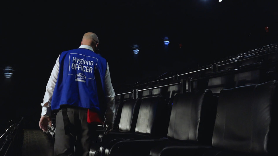 Landmark Cinemas newest position of Hygiene Officer, responsible for ensuring that all health and cleaning procedures are completed to specification. (CNW Group/Landmark Cinemas)