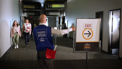 Landmark Cinemas Cast will assist Guests along entry and exit paths to support and ensure proper physical distancing. (CNW Group/Landmark Cinemas)
