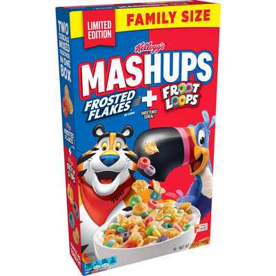 New Kellogg's® MASHUPS Cereal with Kellogg's Frosted Flakes® and Froot Loops® bring the perfect mix of two cereal favorites in one box.