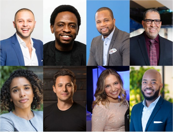 L-R (top row): Abdullah Snobar (Executive Director, DMZ and CEO of DMZ Ventures) Gbemisola Akande (Program Lead, DMZ) Isaac Olowolafe Jr. (Founder of Dream Maker Ventures Inc. and BIF Founding Partner) and Mohamed Lachemi (President, Ryerson University); (bottom row): Alexandra McCalla (Co-founder of AirMatrix) Harley Finkelstein (COO, Shopify) Lindsay Taub (Entrepreneur) and Newton Asare (Venture Partner of Dream Maker Ventures) (CNW Group/Ryerson's DMZ Ventures)