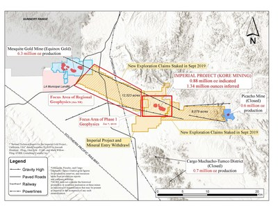Figure 1 – Imperial Claims Controlling the Mesquite-Imperial-Picacho Gold District (CNW Group/Kore Mining)
