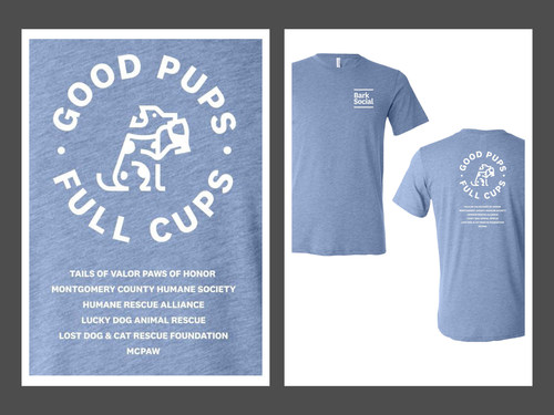 """Bark Social will donate $6 to six local DC dog non-profits for each """"Give Back"""" T-shirt Sold!"""