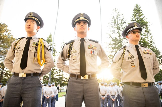 Army and Navy Academy Cadet leaders during daily morning formation