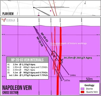 Vizsla Resources - Napoleon - Cross section through holes NP-20-03 and NP-20-04 with intersections labelled. (CNW Group/Vizsla Resources Corp.)