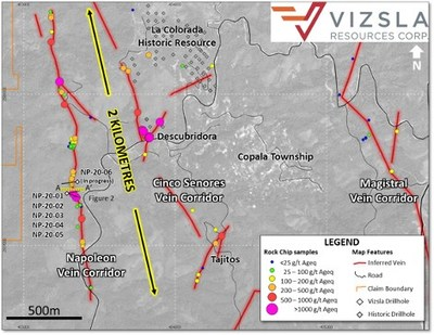 Vizsla Resources - Napoleon - Plan map showing location of drillholes, mapped veins and surface and underground sampling at Napoleon.  The over 2,000 metre long corridor has never previously been drilled. (CNW Group/Vizsla Resources Corp.)