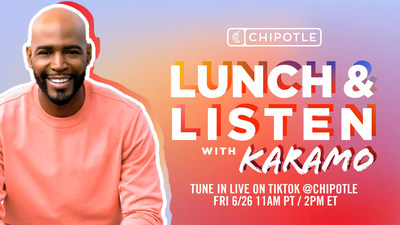 To celebrate Pride, Chipotle is teaming up with with activist, TV personality and brand superfan Karamo to host a Lunch & Listen session on TikTok Live. The session will take place on Friday, June 26 at 2pm ET and feature discussions with popular LGBTQ+ creators. Chipotle will donate $1 for every TikTok Live viewer to The Center for Black Equity.