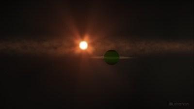 Représentation artistique de la planète (au premier plan) et de son étoile (en arrière-plan). Source  Goddard Space Flight Centre de la NASA, Chris Smith (USRA). (Groupe CNW/Espace pour la vie)