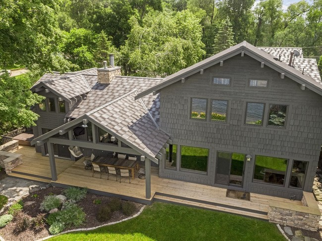 While designs can mimic wood shake roofs, metal roofing offers much better wildfire protection, earning a Class A fire rating for helping shield homes from flying sparks and embers. Photo courtesy of MRA member EDCO.