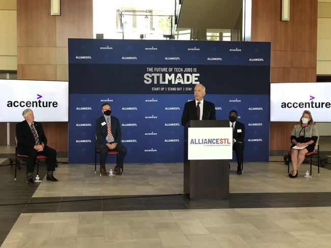 Accenture Federal Services CEO John Goodman announces the company's selection of St. Louis, Missouri, for its newest Advanced Technology Center. The company plans to create 1,400 technology jobs in the region.