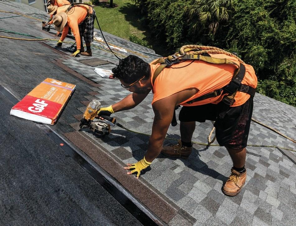 GAF Timberline American Harvest shingles being installed