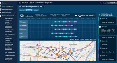 An image of a logistics optimization and operational efficiency tool built with Hitachi Digital Solution for Logistics/Delivery Optimization Service