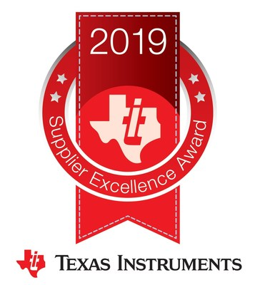 the Texas Instruments (TI) 2019 Supplier Excellence Award