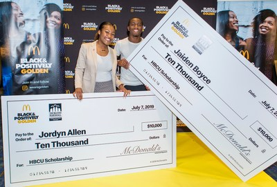 McDonald's launches the $500,000 Black & Positively Golden Scholarship Fund in partnership with the Thurgood Marshall College Fund to help students attending HBCUs continue their education this fall, despite the impact of COVID-19. Pictured are 2019 McDonald's Black & Positively Golden scholarship recipients (L-R: Jordyn Allen and Jaiden Boyce) at last year's Essence Festival of Culture in New Orleans.
