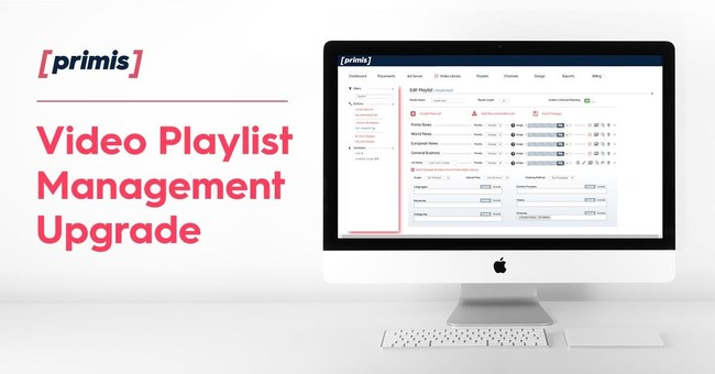 Primis, Video Discovery has launched a series of updates to their playlist features, designed to give publishers greater control over which video content they display, along with 80+ continuously updated recommended playlists for Business, Sports, and 16 other verticals. (PRNewsfoto/Primis)