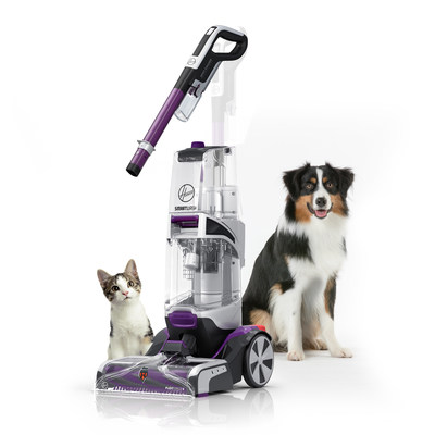 The NEW HOOVER® SmartWash™ PET Complete Automatic Carpet Washer makes carpet washing as easy as vacuuming! Simply push forward to clean and pull back to dry. No trigger, and no mixing solutions. And the SmartWash™ PET Complete is designed specifically for homes with pets. Use the Spot Chaser™ Pretreat Wand to pretreat stains before you clean or as you go. Plus, the antimicrobial FlexForce Pet PowerBrushes remove deep-down dirt while resisting pet odors.