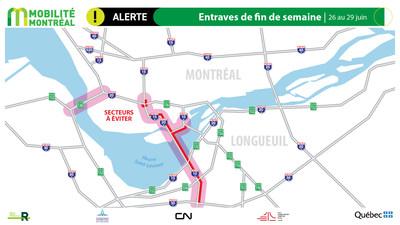 Carte générale des entraves, fin de semaine du 26 juin (Groupe CNW/Ministère des Transports)