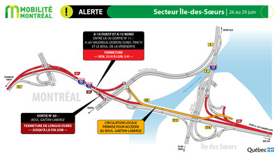 A15 nord, secteur Île des Sœurs, fin de semaine du 26 juin (Groupe CNW/Ministère des Transports)