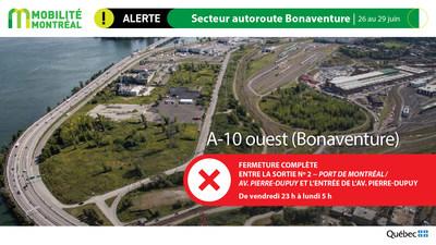 A10 ouest Bonaventure, fin de semaine du 26 juin (Groupe CNW/Ministère des Transports)