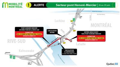 Pont Honoré-Mercier, contresens, fin de semaine du 26 juin (Groupe CNW/Ministère des Transports)