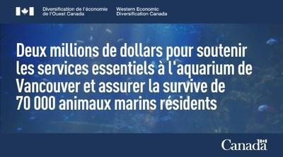 Deux millions de dollars pour soutenir les services essentiels à l'aquarium de Vancouver et assurer la survie de 70 000 animaux marins résidents (Groupe CNW/Diversification de l'économie de l'Ouest du Canada)