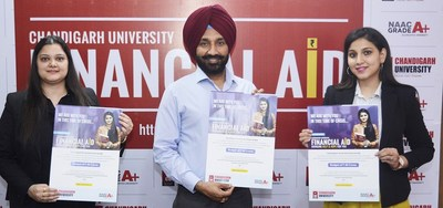 Satnam Singh Chancellor Chandigarh launching the Rs. 48 Crore CU-Financial Aid Scheme for meritorious and deserving students at Chandigarh (PRNewsfoto/Chandigarh University)