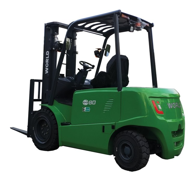 The World Lithium is an 8,820-pound lifting capacity, fast-charging, all-weather electric forklift for indoor and outdoor use.