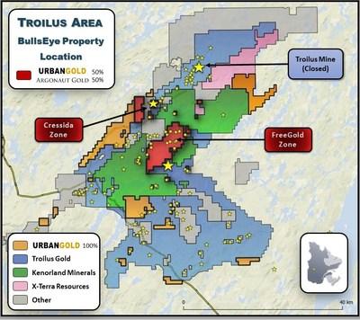 Bullseye Property location map (CNW Group/Argonaut Gold Inc.)