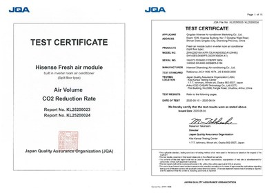 Certificação Fresh Air da JQA (PRNewsfoto/Hisense)
