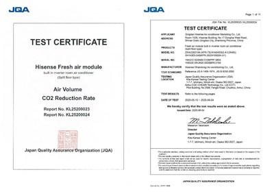 Certificación de aire fresco de JQA (PRNewsfoto/Hisense)