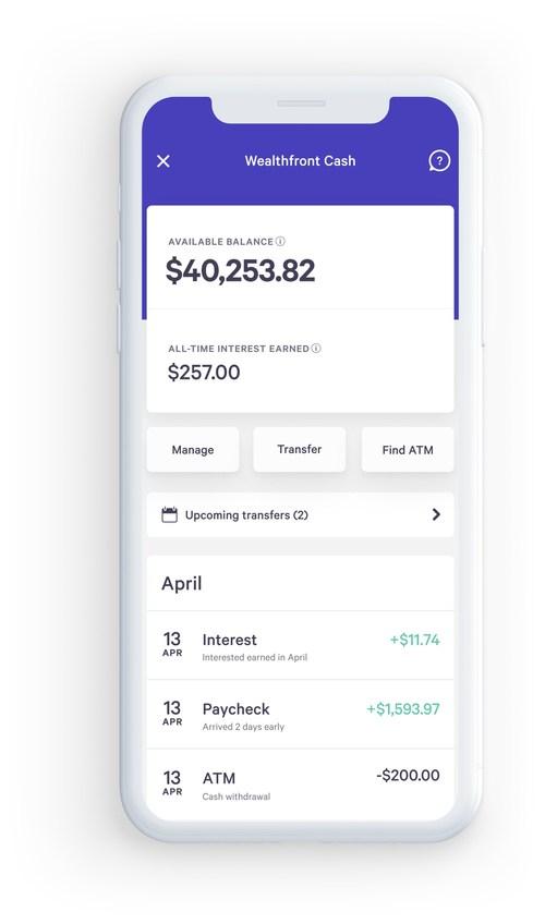 The Wealthfront mobile app