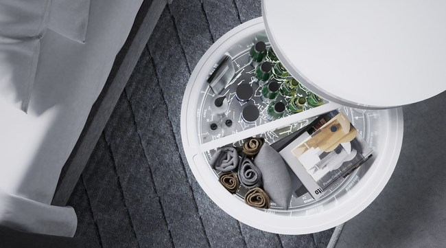 Comet nightstand internal cooler stores drinks and beauty products.