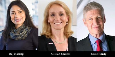 (L-R) Raj Narang, Gillian Secrett, Mike Hardy