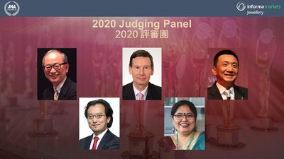 The JNA Awards 2020 Judging Panel (From left to right) - Albert Cheng, CEO, Singapore Bullion Market Association and International Advisor, Shanghai Gold Exchange; Mark Lee, Research Director of Asia Pacific Institute for Strategy (APIFS); James Courage, former Chief Executive of Platinum Guild International (PGI) and former Chairman of the Responsible Jewellery Council (RJC); Nirupa Bhatt, Senior Advisor to the Gemological Institute of America (GIA) India; and Lin Qiang, President and Managing Director of the Shanghai Diamond Exchange (SDE). (PRNewsfoto/JNA Awards)